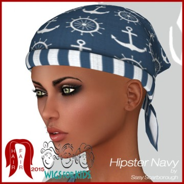 Hair Fair - Bandana Ad Hipster Navy by Sasy Scarborough